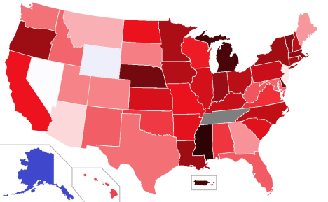 Law Graduate Overproduction by State (2011)